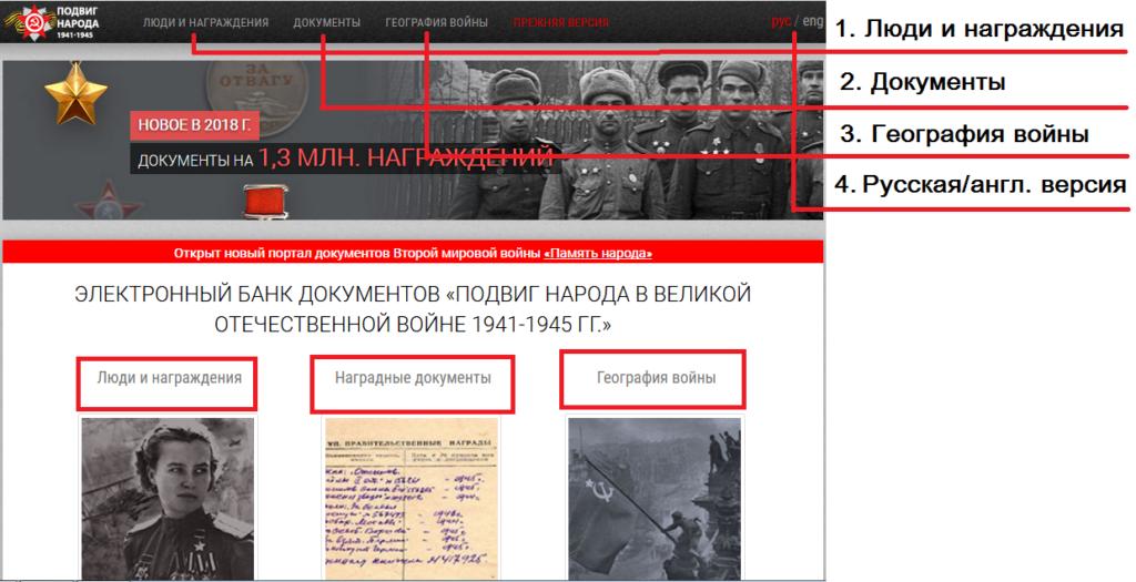 Как найти участника Великой Отечественной войны 1941-1945 по фамилии на сайте Подвиг народа